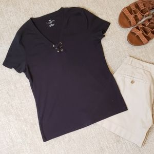 ❄3 for $18 Black Laced Front T Shirt Talbots